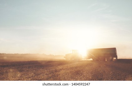 Tractor with a trailer on a field during harvest