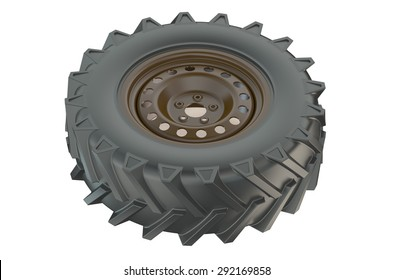 tractor wheel closeup isolated on white background