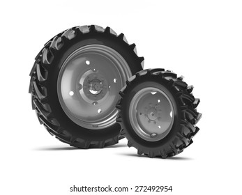 Tractor wheels on a white background