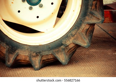 Tractor Wheels,Close up of tractor tire, selective focus.
