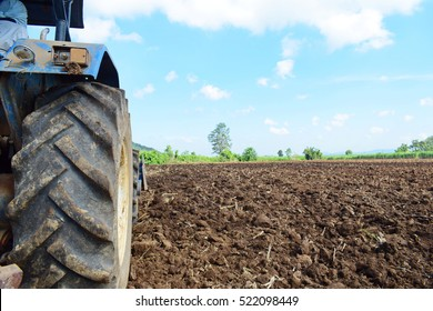Tractors preparing the soil for planting. /Available space