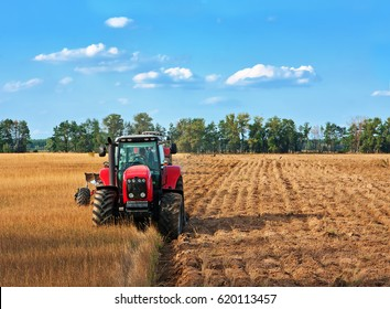 Tractors working on a field