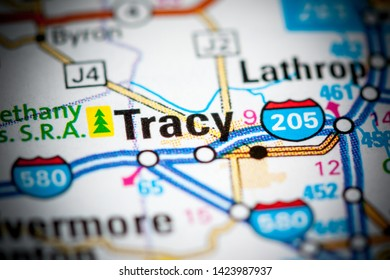 Tracy. California. USA on a map