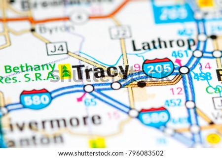 Tracy California Usa On Map Stock Photo Edit Now 796083502
