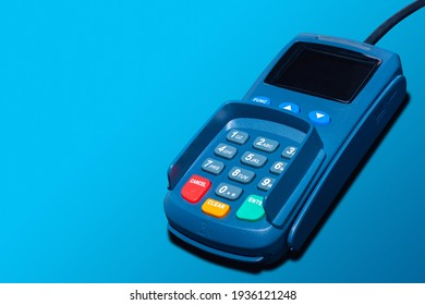 Trade and cash register equipment. Terminal for payment by credit card. Credit card payment equipment. Stationary device for payment by bank card. Purchase with bank transfer. Automated bank transfer