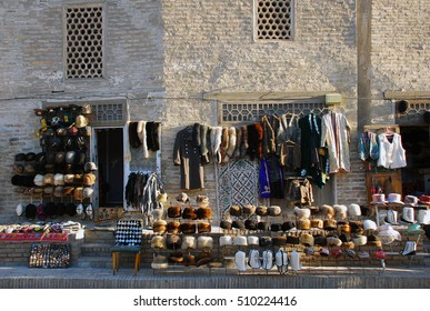 Trade in clothing on the streets of Bukhara. Uzbekistan