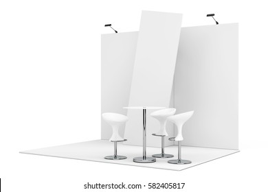 Trade Commercial Exhibition Stand on a white background. 3d Rendering.
