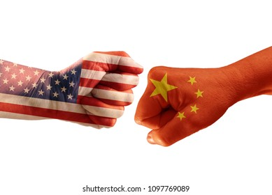 Trade conflict, fists with the flags of USA and China against each other, isolated on a white background