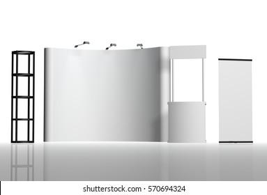 Trade exhibition stand, Exhibition round, 3D rendering