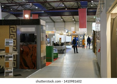 trade fair with different booths