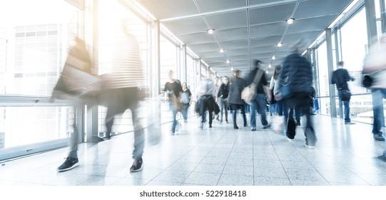 trade fair visitors motion blur