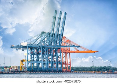 Trade Port , Shipping, Industrial Container Cargo freight ship at port
