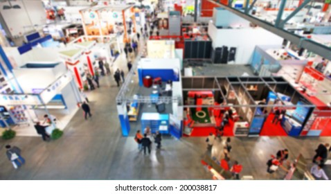 Trade show background, blurred post production
