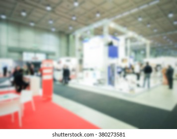 Trade show background with an intentional blurred effect applied.
