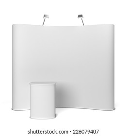 Trade show booth. 3d illustration isolated on white background