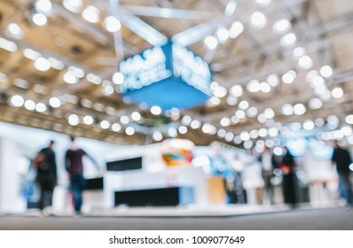 trade show booth, generic background with a blur effect applied