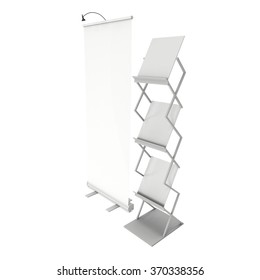 Trade show booth roll up and magazine rack white and blank. 3d render isolated on white background. High Resolution. Ad template for your expo design.