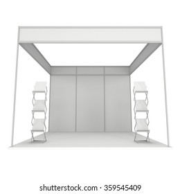 Trade Show Booth White and Blank with Brochure Display. Blank Indoor Exhibition with Work Paths. 3d render isolated on white background. High Resolution Template for your design.
