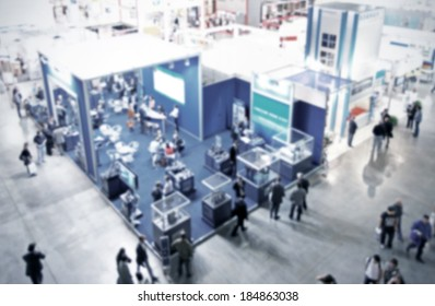 Trade show generic background, blue and intentional blurred post production