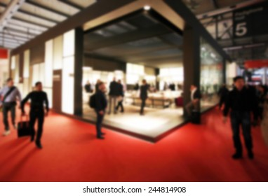 Trade show generic background. Intentionally blurred post production. Humans not recognizable.