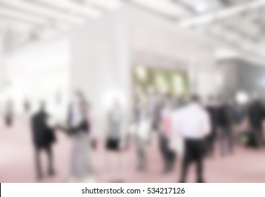 Trade show generic view background with an intentional blur effect applied.
