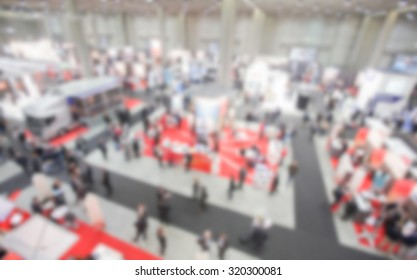 Trade show, panoramic background. Intentionally blurred post production.