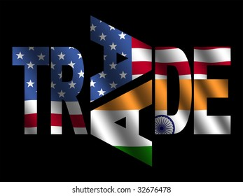 Trade text with American and Indian flags illustration