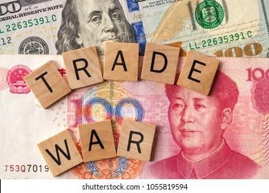 Trade war between USA and China concept/ Tariff law