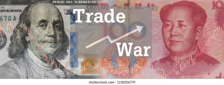 trade war concept. usa dollar and china yuan with trading war from tariff wall policy of government.