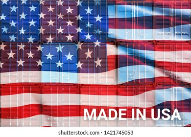 Trade war , Made in America or USA smart logistic concept. Shipping Cargo business Container import and export company for Logistics and Transportation. Factory move back to America.