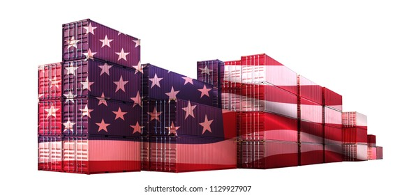 Trade war tariffs. American red Shipping Cargo ship business Container import and export company for Logistics and Transportation on White Background. Smart Industry concept.