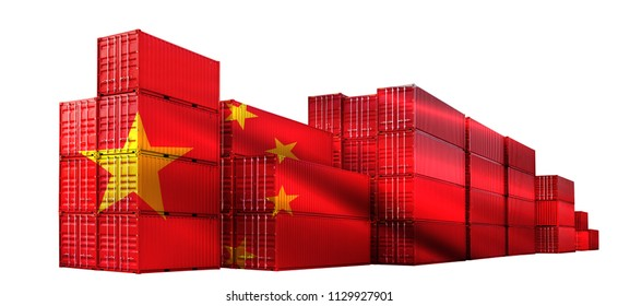 Trade war tariffs. China Red Shipping Cargo ship business Container import and export company for Logistics and Transportation on White Background. Smart Industry concept.