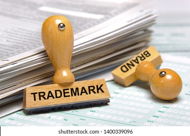 trademark and brand printed on rubber stamp