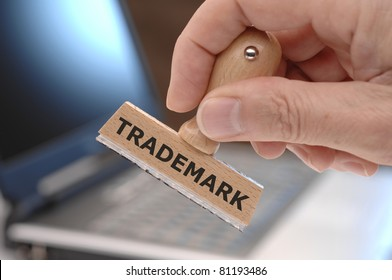 Trademark marked on rubber stamp