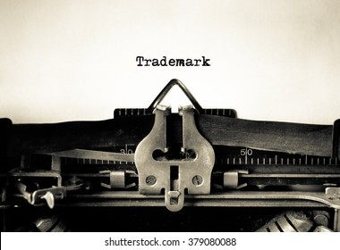 Trademark message typed on a vintage typewriter