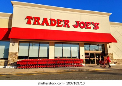 Trader Joe's discount retailer storefront, shopping carts - Saugus, Massachusetts USA - February 27, 2018