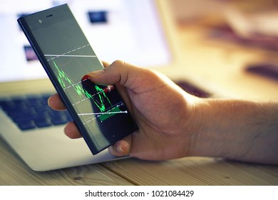 Trader montor chart on smart phone, financial theme.