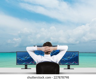 Trader is sitting on the beach in front of three forex screens.