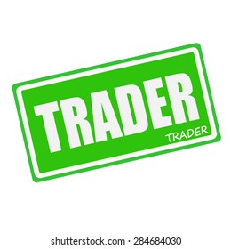 TRADER white stamp text on green