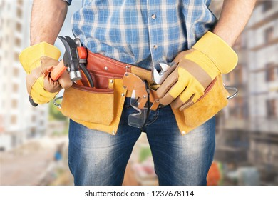 Tradesman toolbelt woman vision technician town wrench