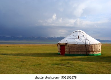 Tradiional yurt by Song Köl Lake in Kyrgyzstan