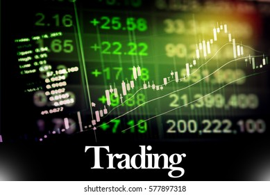 Trading - Abstract digital information to represent Business&Financial as concept. The word Trading is a part of stock market vocabulary in stock photo