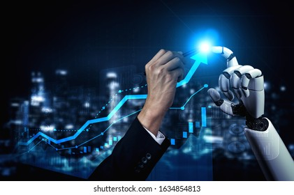 Trading bots development - Human hand fights with bots hand over stock market trading chart. Concept of trading software robot development.