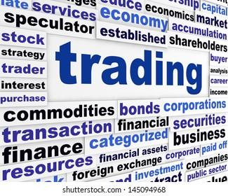 Trading financial words design. Business slogan creative conceptual poster