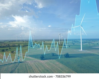 Trading graph on Wind turbine power generator, Business financial concept