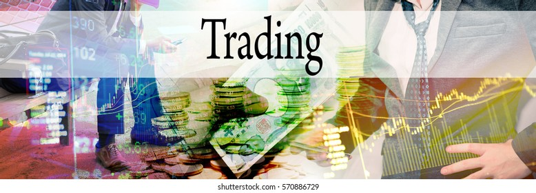 Trading - Hand writing word to represent the meaning of financial word as concept. A word Trading is a part of Investment&Wealth management in stock photo.