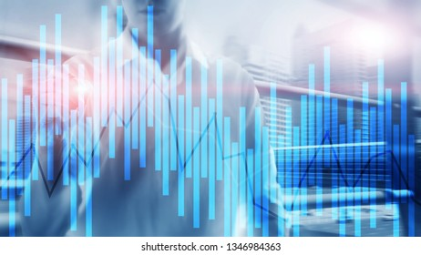 Trading and investment concept with candle chart, financial graph on blurred background abstract background.