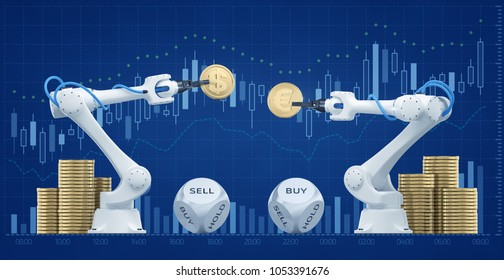 Trading Robots On Forex Market. Illustration / 3d rendering graphic composition on the subject of 'Financial Technologies / Foreign Exchange'.