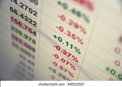 Trading terminal with quotes. Shallow depth of field.
