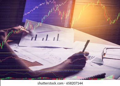 Trading&analysis of Forex graph. Forex trading. Forex market.